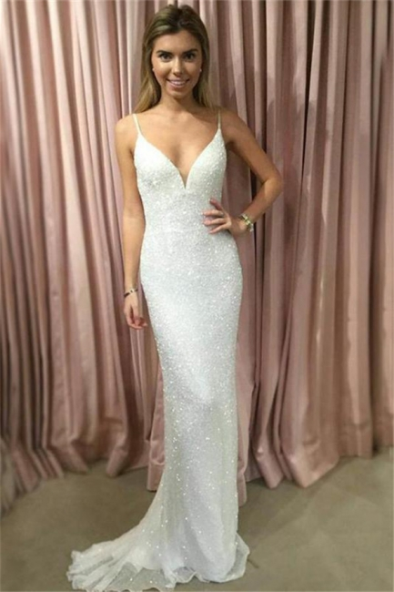 Glamorous Sequin Straps Lace Appliques Prom Dresses   Tulle Sexy Mermaid Sleeveless Evening Dresses