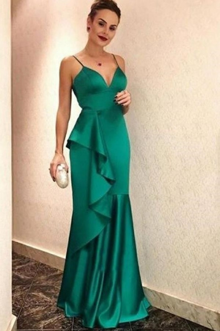 Ruffles Spaghetti-Straps Prom Dresses |Popular Sexy Mermaid Sleeveless Evening Dresses