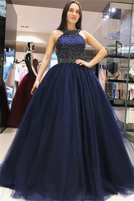 Glamorous Halter Crystal Bow-knot Open Back Prom Dresses Ball Gown Sleeveless Sexy Evening Dresses