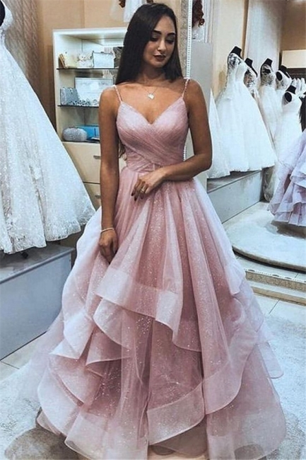 Elegant Pink Spaghetti-Straps Princess A-line Quality Tulle Ruffle Prom Dresses | Suzhou UK Online Shop