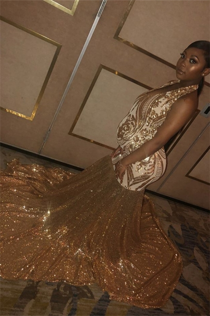 Glamorous Gold Halter Sequins Prom Dresses | Over Size Sexy Mermaid Sleeveless Evening Dresses