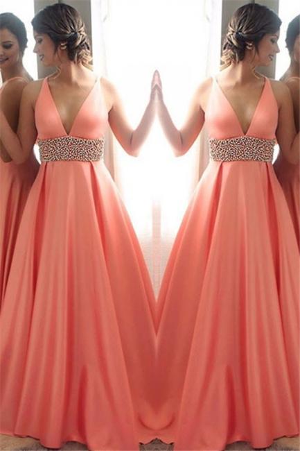 Crystal V-Neck Lace Prom Dresses Sleeveless Side Slit Tulle Sexy Evening Dresses