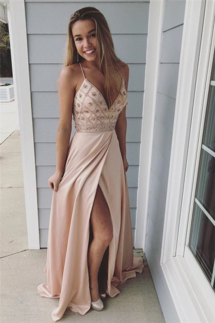 Glamorous Spaghetti-Strap Crystal Prom Dresses   Side slit Sleeveless Evening Dresses with  Beads