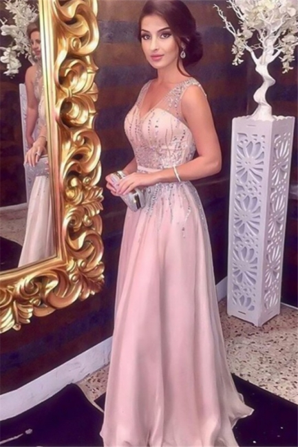 Glamorous Pink Sequins V-Neck Prom Dresses Sleeveless Sexy Evening Dresses with Belt