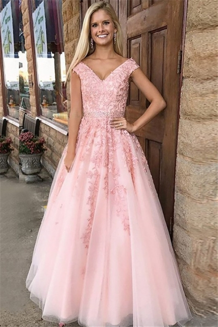 Fashion Pink Off-the-Shoulder Prom Dresses | Lace Appliques Crystal Sleeveless Evening Dresses with Belt