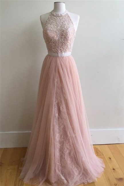 Glamorous Lace Appliques Overskirt halter Prom Dresses | Sleeveless Evening Dresses with Beads