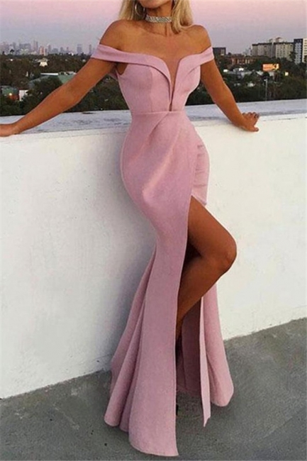 Pink Off-the-Shoulder Ruffles Prom Dresses Mermaid Sleeveless Side Slit Sexy Evening Dresses