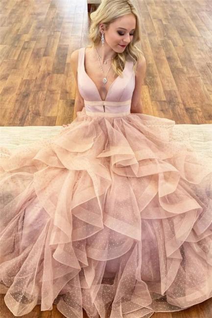 Glamorous Straps Prom Dresses |  Ruffle Sleeveless Evening Dresses