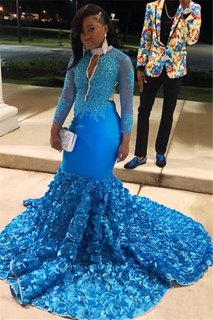 Amazing Blue Sheer Quality Tulle Sleeved Flower Applique Trumpet Prom Dresses | Suzhou UK Online Shop