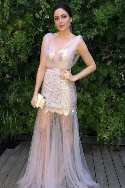 Sheer Sheer Straps Ribbons Crystal Prom Dresses | Sexy Mermaid Sleeveless Evening Dresses with Beads
