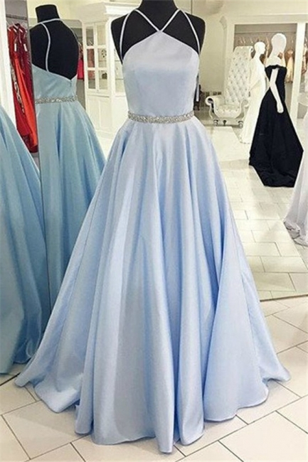 Glamorous Halter Beads Prom Dresses |  Open Back  Evening Dresses with Belt