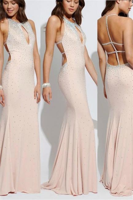 Glamorous Lace Up Halter Beads Prom Dresses | Sexy Mermaid  Keyhole Evening Dresses