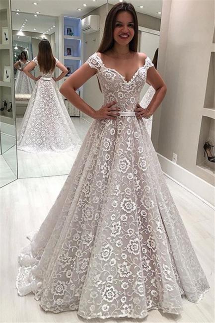 Stylish Off-The-Shoulder Appliques A-Line Wedding Dress | Bridal Gowns Online