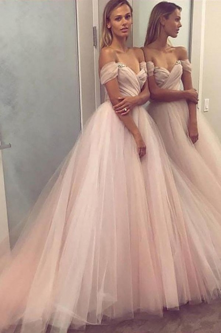 Sexy Crystal Off-the-Shoulder Prom Dresses   Ruffle Sheer Sleeveless Evening Dresses