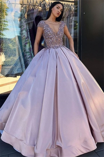 Sexy Low Cut Summer Sleeveless Crystal Beading Ball-Gown Prom Dresses | Suzhou UK Online Shop