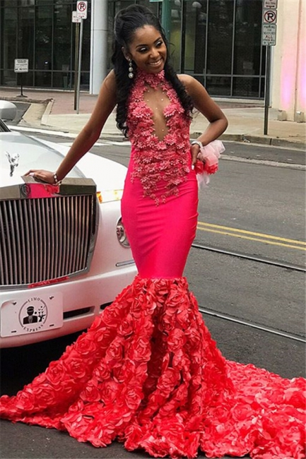 Glamour Halter Flower Applique Summer Sleeveless Long Prom Dress | Suzhou UK Online Shop