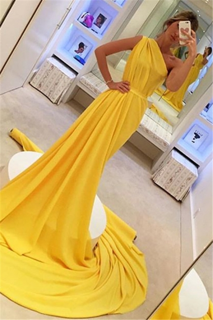 Glamour Yellow One-Shoulder Summer Sleeveless Long Princess A-line Prom Dress | Suzhou UK Online Shop