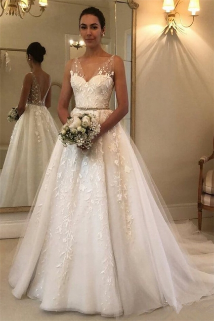 Gorgeous Sheer Straps Applique Wedding Dresses | Sleeveless Floral Bridal Gowns with ribbons