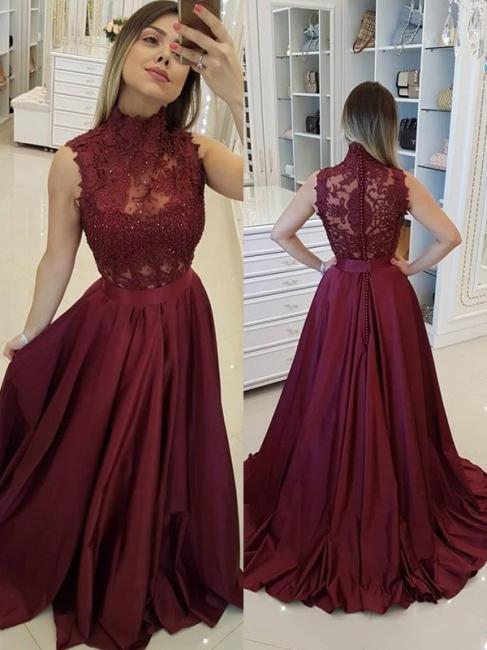 Burgundy High Neck Applique Prom Dresses Sleeveless Beads Sexy Evening Dresses with Belt