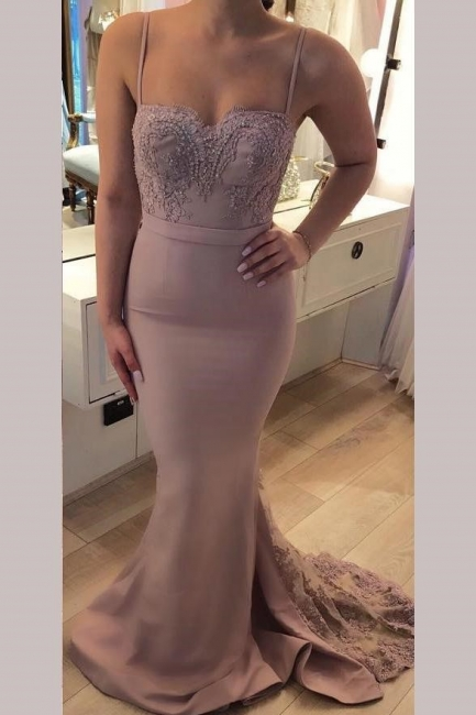 Glamorous Crystal Spaghetti-Strap Lace Appliques Prom Dresses | Sexy Mermaid Sleeveless Evening Dresses with Beads