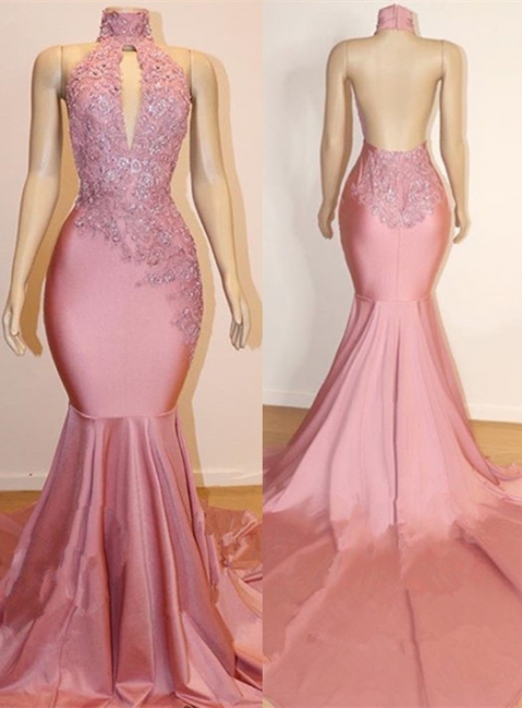 Halter Trendy Backless Trumpet Appliques Long Train Prom Dresses | Suzhou UK Online Shop