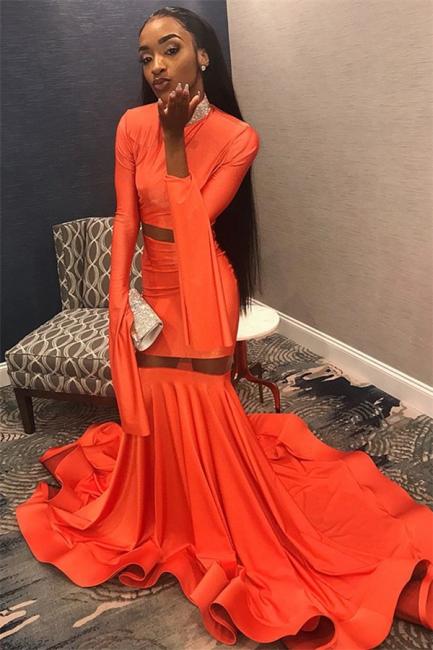 Sexy Orange Sleeved High-Neck Trumpet Long Prom Dress | Suzhou UK Online Shop