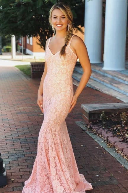 Fashion Pink Lace Straps Prom Dresses | Sleeveless Backless Sexy Mermaid Evening Dresses Cheap Dresses