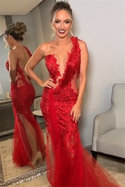 Wine Red One-Shoulder Lace Applique Trendy Backless Trumpet Tullle Prom Dresses | Suzhou UK Online Shop
