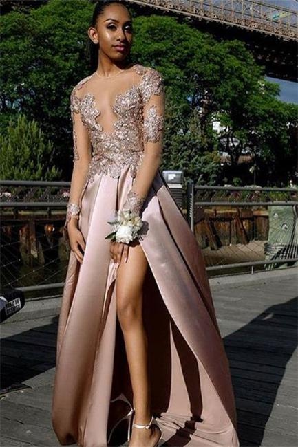Glamour Sleeved Side Slit Trendy Backless Applique Princess A-line Long Prom Dress   Suzhou UK Online Shop