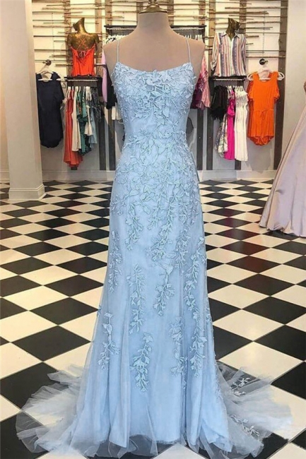 Sheer Lace Appliques Spaghetti-Strap Prom Dresses |  Sexy Mermaid Sleeveless Evening Dresses