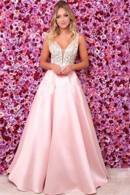 Pink V-Neck Sequins Ruffles Prom Dresses | Open Back Sleeveless Evening Dresses