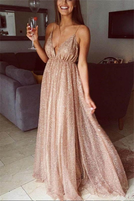 Squins Spaghetti-Strap Prom Dresses | Backless Sleeveless Evening Dresses