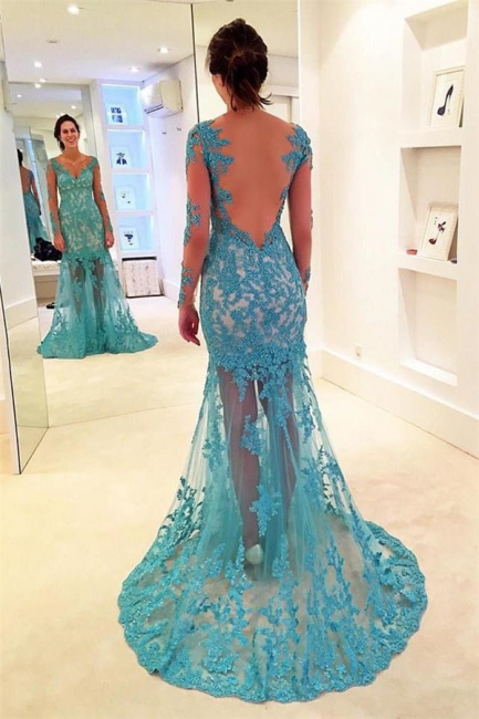 Glamorous Lace Appliques V-Neck Prom Dresses | Bacless Sexy Mermaid Longsleeves Evening Dresses