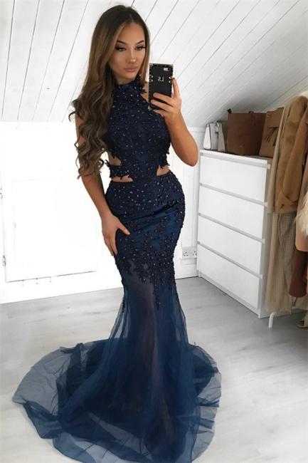 Glamour Halter Summer Sleeveless Sheer-Quality Tulle Trumpet Prom Dress   Suzhou UK Online Shop