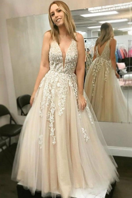 Glamorous Lace Appliques Strap Prom Dresses | A-Line  Sleeveless Evening Dresses