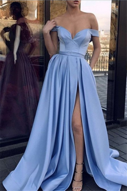 Glamorous Off-the-Shoulder Sleeveless Prom Dresses Side Slit Sexy Evening Dresses Cheap
