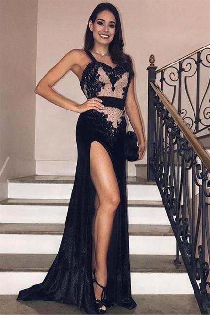 Glamour Black Velvet Spaghetti-Straps Side-Slit Evening Gown | Suzhou UK Online Shop