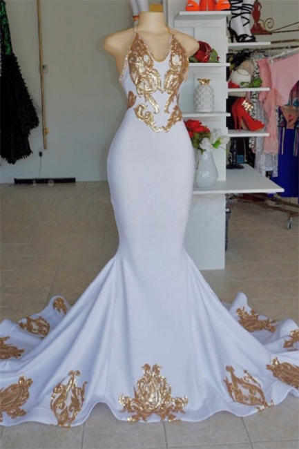 Halter Sexy Low Cut Summer Sleeveless Gold Appliques Prom Dress | Suzhou UK Online Shop
