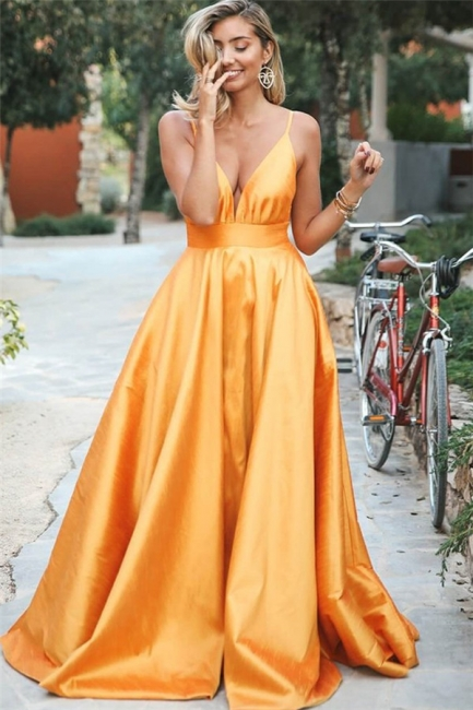 Elegant Orange Spaghetti-Straps Summer Sleeveless Sexy Low Cut Princess A-line Prom Dress | Suzhou UK Online Shop