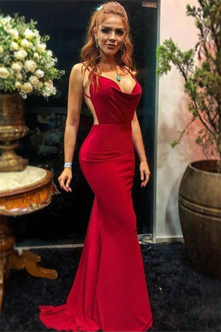 Sexy Wine Red Spaghetti-Straps Trendy Backless Trumpet Prom Dress | Suzhou UK Online Shop