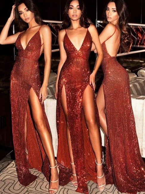 Spaghetti Strap Open Back Prom Dresses Sleeveless Side Slit Sexy Evening Dresses