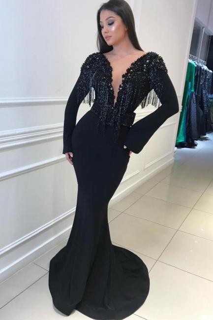 Long Sleeves Trumpet Sexy Low Cut Tassel Beading Open Back Prom Dresses   Suzhou UK Online Shop