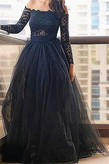 Black Long Sleeves Lace Bateau Prom Dresses | Tulle Cheap Evening Dresses with Belt