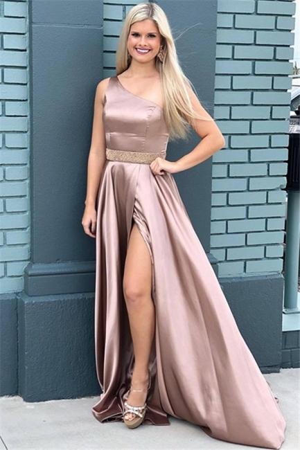 Glamorous One-Shoulder Beads Prom Dresses Side Slit Sleeveless Sexy Evening Dresses with Belt