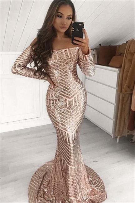 Sexy Sequins Off-The-Shoulder Sleeved Trumpet Prom Dresses | Suzhou UK Online Shop