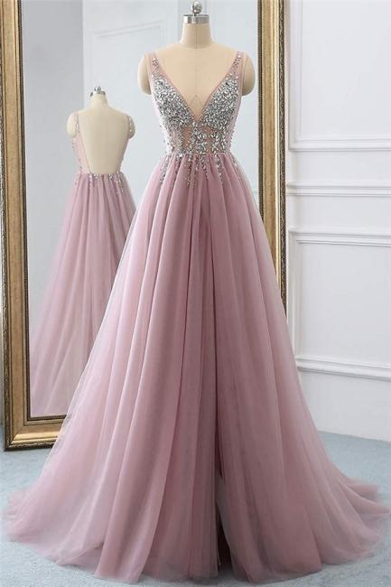 Pink V-Neck Lace Appliques Crystal Prom Dresses | Sheer Side slit Backless Sleeveless Evening Dresses