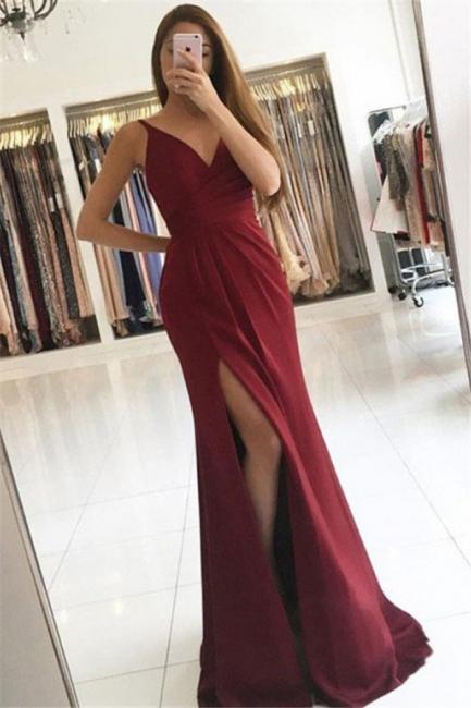 Glamorous V-Neck Ruffles Mermaid Prom Dresses Side Slit Sleeveless  Sexy Evening Dresses