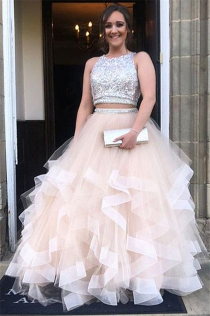 Sequins Jewel Sheer Prom Dresses | Two Piece  Sleeveless Evening Dresses
