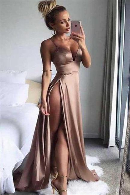 Spaghetti Strap Sleeveless Prom Dresses   Side Slit  Evening Dresses