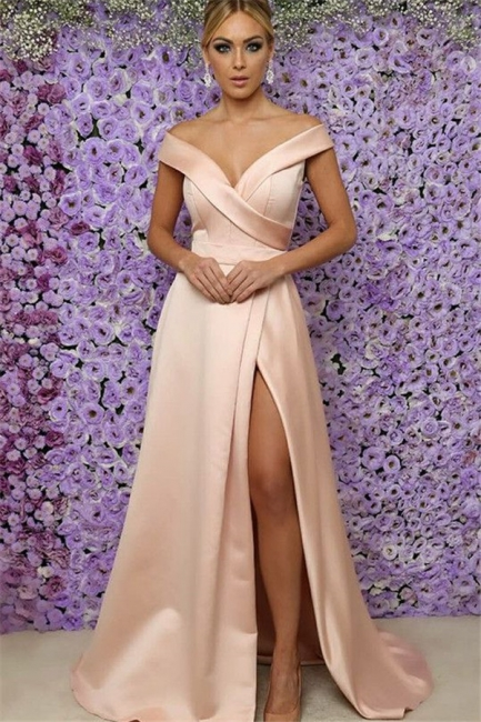 Off-the-Shoulder Prom Dresses Side Slit Sleeveless Sexy Evening Dresses